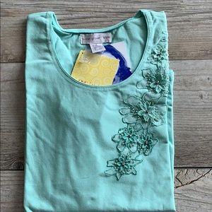 NWT Susan Graver stretch cotton T-shirt w/appliqué